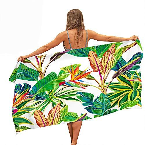 Himlaya Beach Towel Quick Drying Microfibre, 3D Printing Extra Large Bath Towel Absorbent Sand Free Light Weight Bathrobe for Beach Swim Travel Yoga Sports Vacation Sunbeds (Green leaf C,80x160cm)