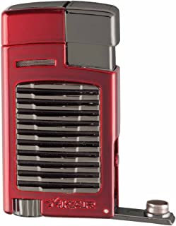Xikar Forte Jet Flame Lighter, Fold-Out 7mm Cigar Punch, Red Hue Fuel Gauge, Hot Rod Inspired Design, Decorative High-Touch Insert, Daytona Red With G2 Trim
