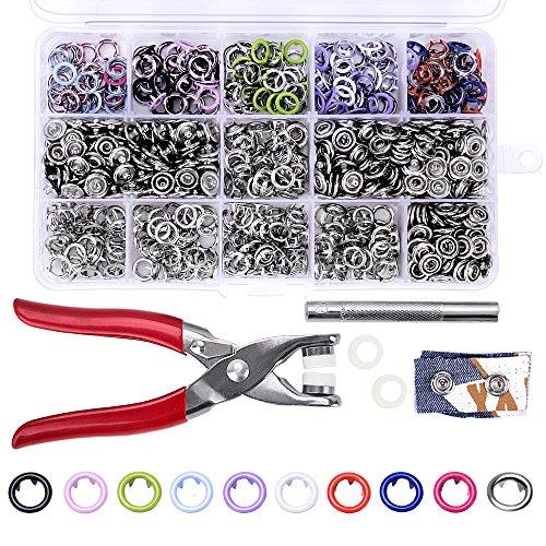 200 Stücke 9,5mm Druckknöpfe, craftsman168 Poppers Ring Druckknopfzange Sie Druckknopf mit Hand Drücken Zangen Tool Kit für Lätzchen Benutzerdefinierte Kleidung oder DIY Projekte
