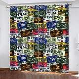 FOssIqU Cortinas Opacas 3D 66x72inch Patrón de matrícula Retro Cortinas de reducción de Ruido Suave de poliéster, decoración del hogar del Cuarto de niños del Dormitorio de la Sala de Estar,