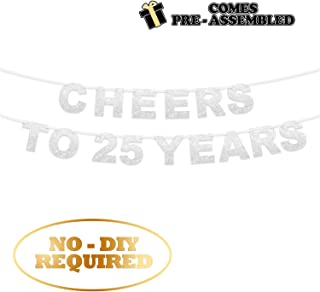 Cheer To 25 Years Banner -Happy 25 Years Old Birthday Party 25th Anniversary Party Decoration Bunting Silver