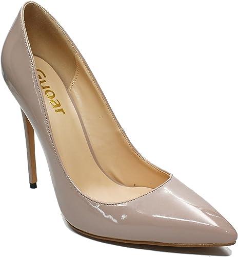 DYF Chaussures femmes talon haut extra fines de couleur solide taille grande bouche peu profonde sombre,Fun,43