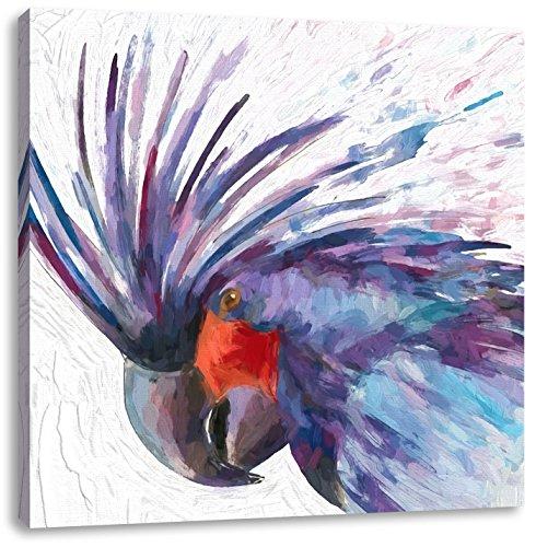 extravagant exotische vogelCanvas Foto Plein | Maat: 40x40 cm | Wanddecoraties | Kunstdruk | Volledig gemonteerd