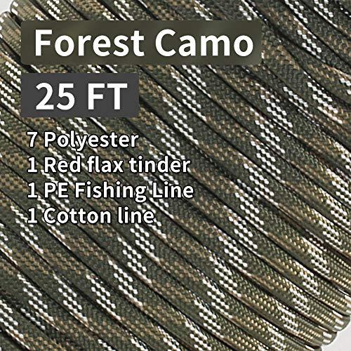 PSKOOK Paracord Überleben Cord Survival Cord mit Feuerstarter Cord Gewachst Jute Zunder + PE Angelschnur + Baumwollschnur Geflochtene Feuer Fallschirm Cord (Wald Camouflage, 25FT)
