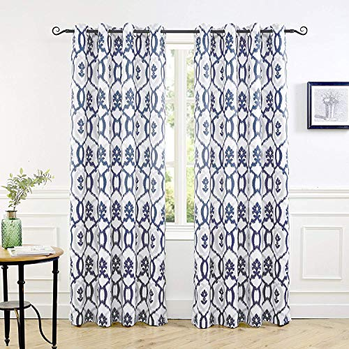 DriftAway Evelyn Thermal Room Darkening Grommet Unlined Window Curtains Ikat Floral Pattern Set of 2 Panels Each Size 52 Inch by 84 Inch Navy Blue