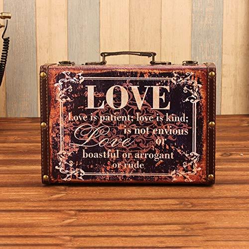 Dfghbn - Maleta vintage de piel grande, maleta de viaje, decoración interior, fiestas, bodas, decoración, cartel artesanal, almacenamiento de maleta (color azul, tamaño: 30 x 20 x 9 cm)