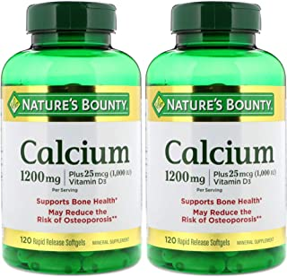 Natures Bounty Calcium 1200 mg Plus Vitamin D3 Dietary Supplement Softgels 120 Each(pack of 2)