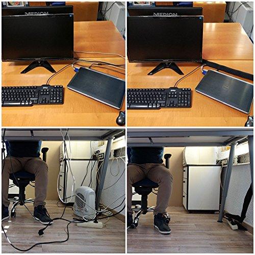 Kabelmanagement System - Neoprene Kabelschlauch Kabeltunnel 150 CM Kabelkanal Kabelhülle + 50 Stück Selbstklebend Kabelklemme Kabelhalter + 50 Stück Kabelbinder Klettverschluss