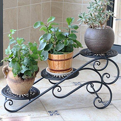 Porte-fleurs multifonctions Support de fleur de fer Multicouche balcon fleur étagère Salon bureau pot de fleur rack Bureau de style de plancher à l'intérieur et à l'extérieur de la petite grille de fl