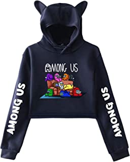 Among US Game Hoodies Cat Ears Long Sleeve Game Wolf Cosplay Pullover Crop Top Hooded Sweatshirt for Adults Unisex