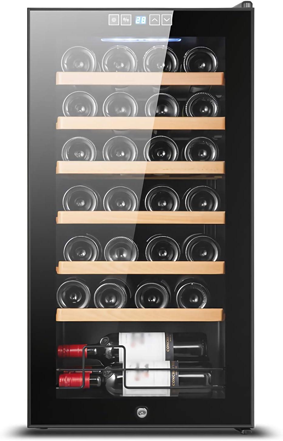 LLZH Vinoteca Frigorífico, Refrigerador Vino Compresor, Nevera de Vino Barra Mostrador, con Puerta con Cerradura, Control Digital, Estantes Ajustables, 24/28 Botellas de Gran Capacidad,28 Bottle