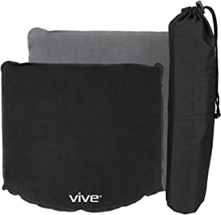 Vive Inflatable Cushion - Office Chair & Wheelchair Air Pad for Coccyx, Tailbone, Sciatica, Cars, Stadium Bleacher Seats, Travel, Airplanes & Boats - Easy to Self Inflate or Deflate for Transport