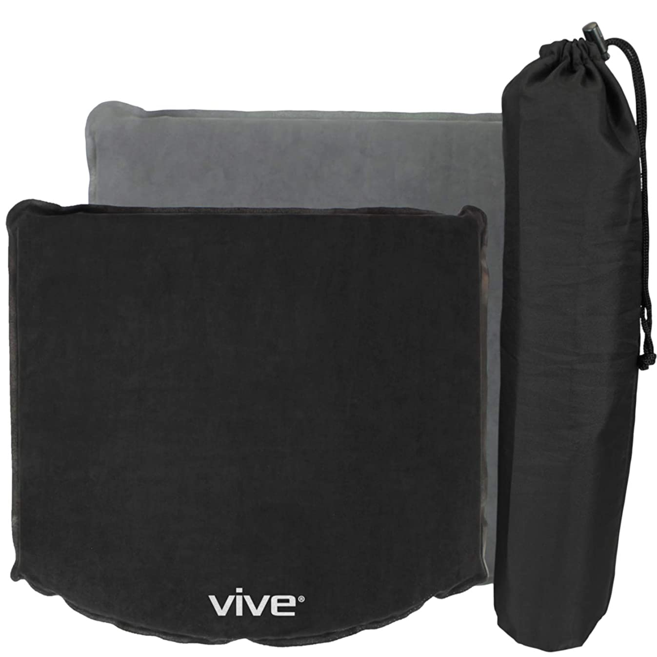 Vive Inflatable Cushion - Office Chair & Wheelchair Air Pad for Coccyx, Tailbone, Sciatica, Cars, Stadium Bleacher Seats, Travel, Airplanes & Boats - Easy to Self Inflate/Deflate & Transport