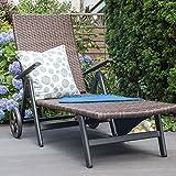 Vanage Sonnenliege mit Polyrattan Optik in braun – Gartenliege mit 2 Rädern – Liegestuhl ist klappbar – Gartenmöbel – Strandliege aus Aluminium – Relaxliege für den Garten, Terrasse und Balkon - 7