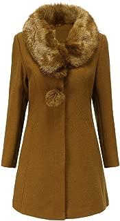 Winter Women Fake Fur Collar Solid Work Office Long Sleeve Single Breasted Woolen Jacket Coat