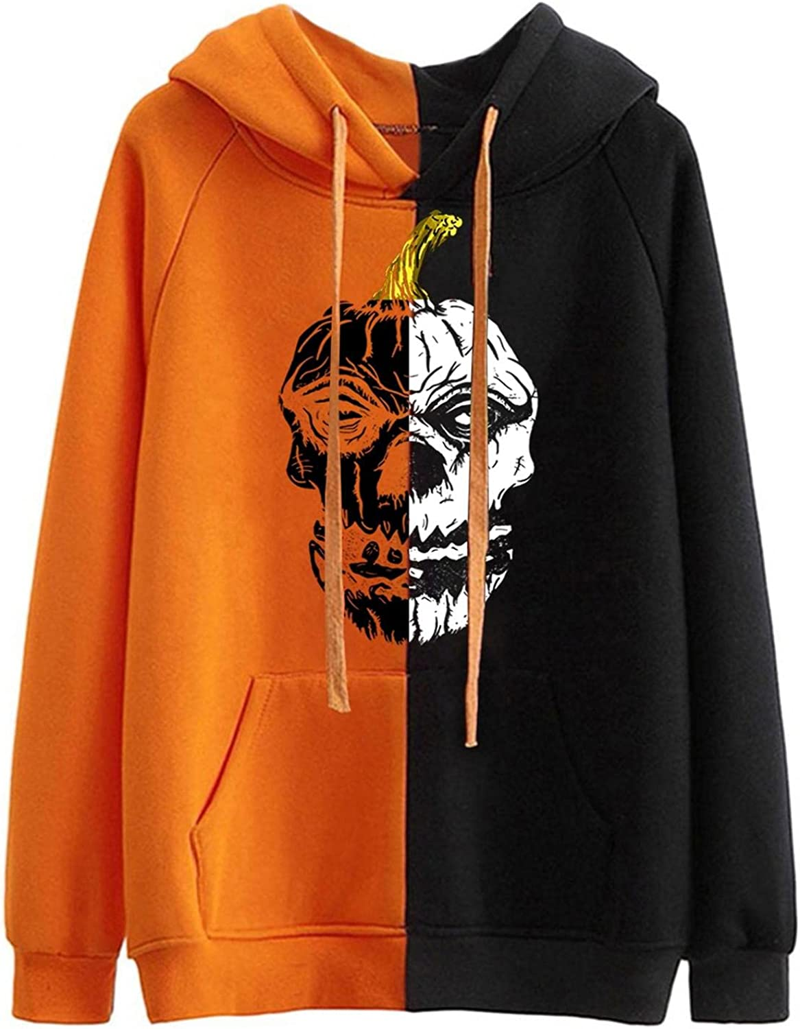 TAYBAGH Halloween Sweatshirts for Women Horror Smiley Long Sleeve Hoodies Casual Patchwork Lightweight Sweater Pullover