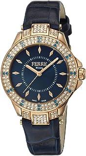 Ferre Milano Women'S Navy Blue Dial Leather Band Watch Fm1L067L0041, Quartz, Analog