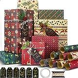 Larcenciel Papier Cadeau Kraft Noel, 8 Feuilles Emballages de Cadeaux de Noël décoratifs Papier, Emballage Cadeau Recyclé Avec 6 Étiquettes + Corde D'emballage + Ruban Adhésif Double Face,(70 x 50 cm)