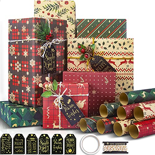 Larcenciel Christmas Wrapping Paper, Recycled Gift...
