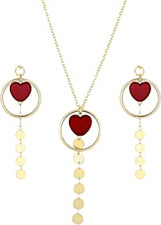 MTSCE Jewelry Sets for Valentine's Day, Heart-Shaped Pendant Necklace and Earrings Set Red Necklace for Women Girls Fashio...