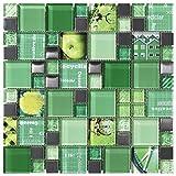 Mosaico de Vidrio en Malla DEC-47082AUU007, Verde, 8 mm, 30 x 30 cm