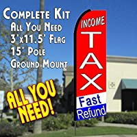 INCOME TAX FAST REFUND (tri-color) Flutter Feather Banner Flag Kit (Flag Pole & Ground Mt) [並行輸入品]