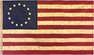 Texupday Tea Stained Antique Look American US Flag 3x5 FT Nylon Polyester - Embroidered Stars and Sewn Stripes 13 Stars