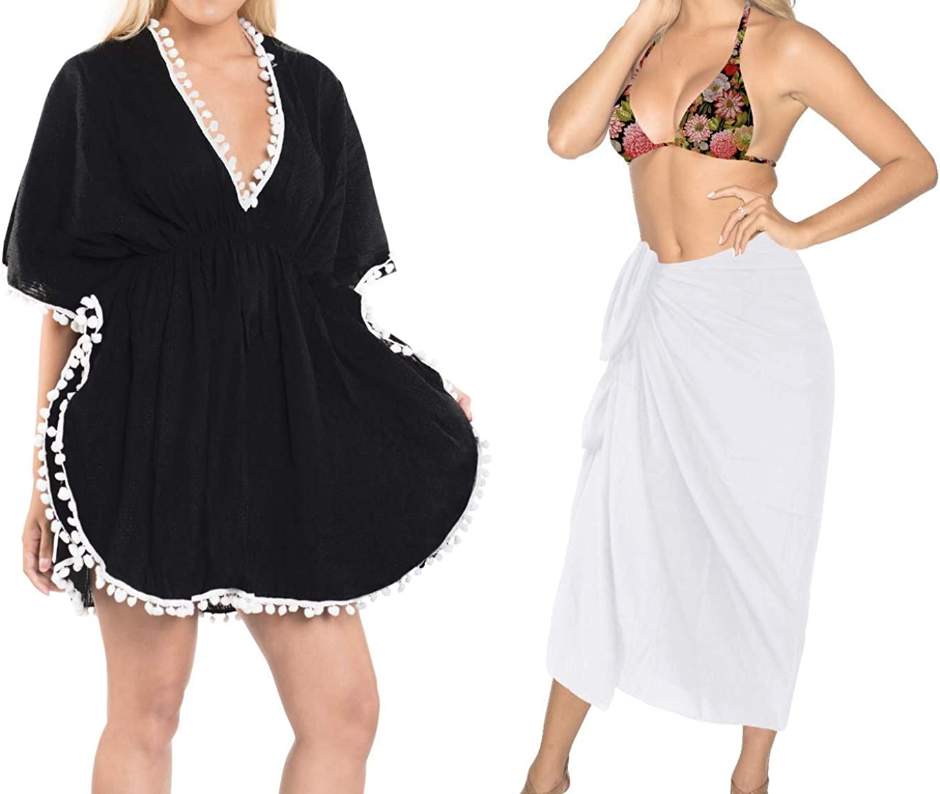 LA LEELA Womens Bathing Suit Cover Ups V Neck Beach Dress Sheer Cotton Swimsuit Front Tie Kimono Beach Cover up Wrap Pareo Work from Home Clothes Women Pack of 2