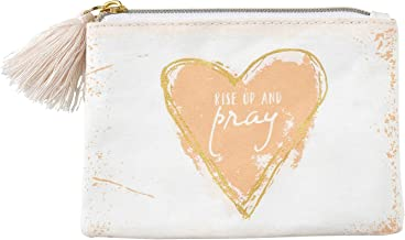 CB Gift SB Design Washable Paper Zippered Coin Purse with Tassel Pull Gold-Foil, Blush-Pink Heart, Rise Up and Pray