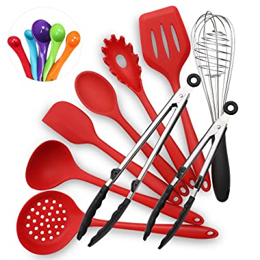Silicone Cooking Utensils Set - IKSTAR 9 Pcs Kitchen Utensil Cooking Tools with Heat/Stain Resistant Spatula Set for Nonstick Cookware, TWO SIZE Tongs - Red/BPA Free/Non Toxic / 480°F High Heat