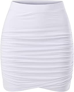 Womens Slim Cut High Waist Elastic Shirring Midi Pencil Skirt