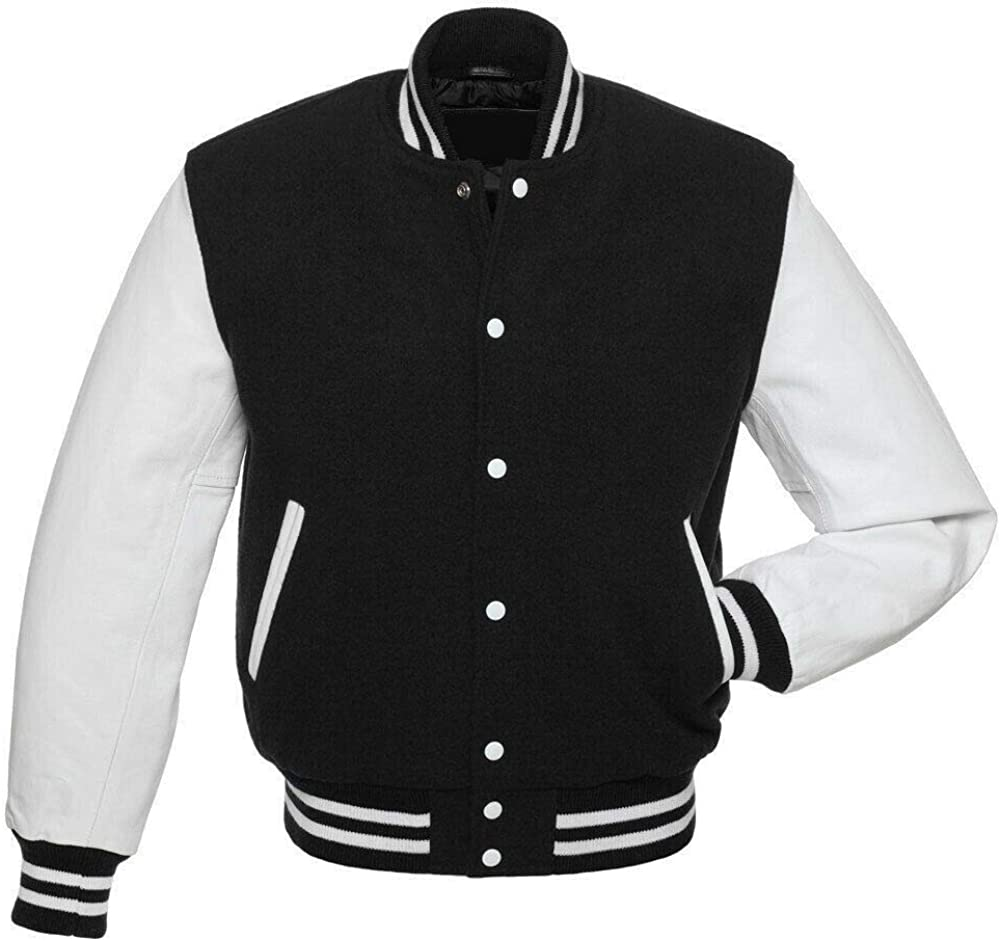 COCOBEE USA Men's Varsity Jacket Genuine Leather Sleeve and Wool Blend Letterman Boys College Bomber Jackets XXS-5XL