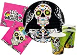 Ciao-Kit Party Tavola Halloween Dia de los Muertos persone (72 pezzi piatti Ø23cm, bicchieri plastica 200ml, 24 tovaglioli carta 33x33cm) Dias, Single, Multicolore, Y4385