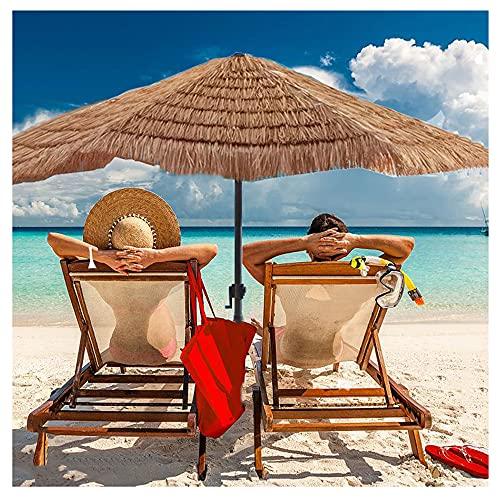 JZWJH Ombrellone Esagonale da Spiaggia, Ombrellone in Paglia Hula Rafia, Stile Hawaiano, con Manovella, Colore Naturale, Senza Base