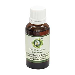 R V Essential Pure Wintergreen Essential Oil 100ml (3.38oz)- Gaultheria Procumbens (100% Pure and Natural Therapeutic Grade)