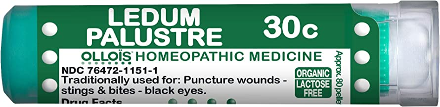 Ollois Organic Lactose-Free Organic Homeopathic Medicines, Ledum Palustre 30C Pellets, 80 ct