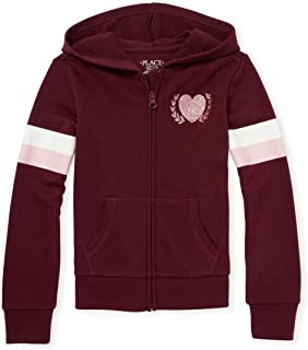 The Children's Place Girls' Big Graphic Strped Sleeve Hooded Sweatshirt