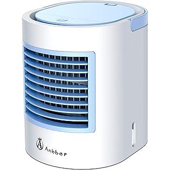 Aire Acondicionado Portátil, Anbber Mini Enfriador Portátil USB Aire Acondicionado con 4 en 1 Ventilador Purificador Humidificador, 7 Colores, 3 Velocidades Ajustable para Hogar Oficina Coche: Amazon.es: Hogar