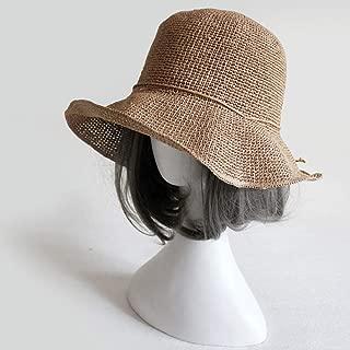 Asdfnfa Sun Hat Women's Straw Hat Summer UV Folding Beach Hat Big Hat Fishing Cap Basin Cap (Color : Brown)