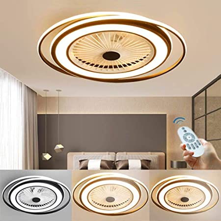LED 60W Ventilateur De Plafond Invisible Lumière Ventilateur Froid Fan Plafonnier Avec Éclairage Chambre Dimmable Lampe De Salon Télécommande Moderne Silencieux Can Timing Luminaire Moderne