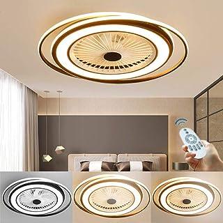 Ventilador De Techo LED Ventilador Invisible Luz Ventilador Frío Y Cálido Lámpara Techo Con Iluminación Para Dormitorio Lámpara De Sala Estar Regulable Con Control Remoto Ventilador Silencioso 60W