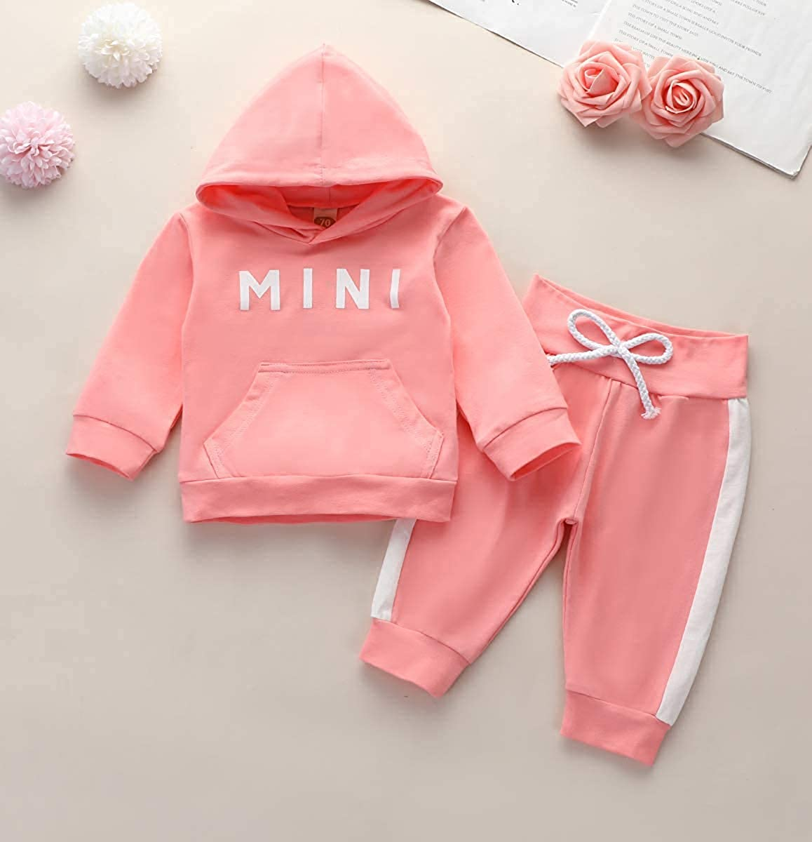 Toddler Baby Girl Hoodies Tracksuits Solid Color Hoodie Sweatsuit Pullover Long Pants Tracksuit 2Pcs Outfits Set
