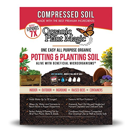 Compressed Organic Potting-Soil for Garden & Plants - Expands up to 7 Times When Mixed with Water - Nutrient Rich Plant Food Derived from Natural Coconut Coir & Worm Castings Fertilizer