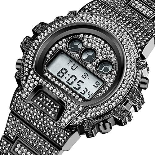 Fantex 45 mm Iced Out Lab Diamond Reloj digital LED multifuncional con esfera de acero inoxidable chapado en oro de 18 quilates para hombres (Black)