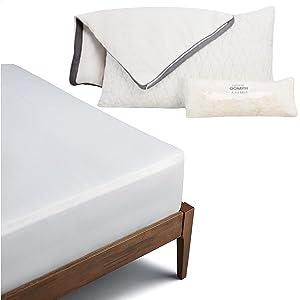 Coop Home Goods Bundle - 1 Original Loft Queen Size Adjustable Pillow - 2 Zippered, Waterproof Pillow Protectors - 1 Premium Bamboo Queen Mattress Protector - CertiPUR-US/GREENGUARD Gold Certified