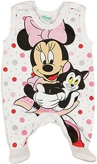 Baby-Strampler mit Füßchen, LEICHT GEFÜTTERT, Spiel-Anzug mit Druckknöpfen, Baby-Schlafanzug ÄRMELLOS mit Minnie Mouse, Grösse 50, 56, 62, 68, Geschenk für Neugeborene, Frühchen