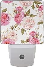 JOYPRINT Led Night Light Floral Flower Rose Pattern Pink, Auto Senor Dusk to Dawn Night Light Plug in for Kids Baby Girls Boys Adults Room