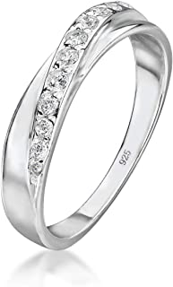 Amberta 925 Sterling Silver - Ring for Women - Crossover Band with Zirconia Stones - Twisted Design - Several Sizes: I to P