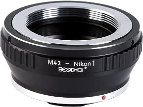Beschoi Lens Mount Adapter for M42 42mm Screw Mount Lens to Nikon 1-Series Camera Adapter Ring, fits Nikon V1, J1 Mirrorless Cameras