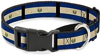 "Buckle-Down El Salvador 旗帜/黑色马丁基犬项圈 萨尔瓦多国旗/黑色 1"" Wide - Fits 11-17"" Neck - Medium"